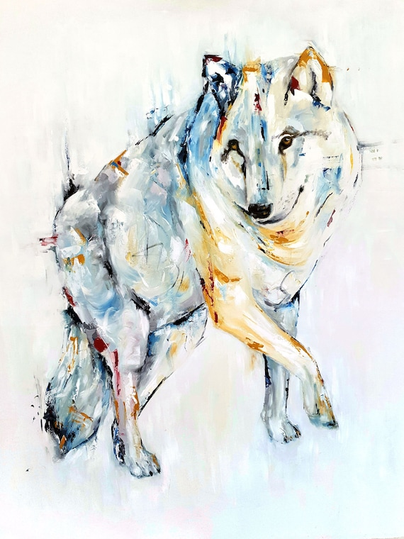 Original Wolf Painting On Canvas Wolf Gift 30 Inch Abstract Animal Painting Original Oil Painting