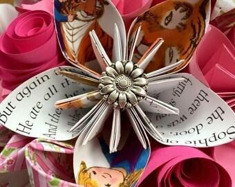 Paper Flower bouquet wedding bridal whimsy whimsical cosplay kawaii unicorn pastel rainbow white handle