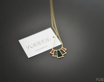 Art deco gold, Burgundy and black leather necklace