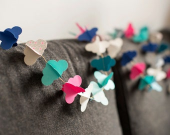 cardstock form cloud blue lagoon and pink Garland