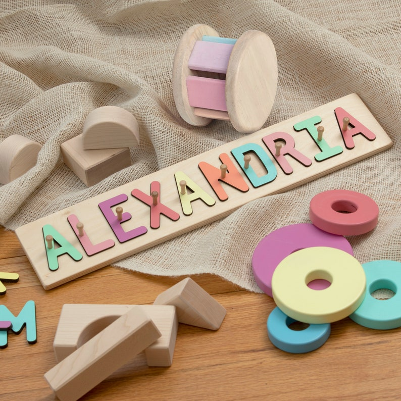 Personalized Wooden Name Puzzle with Pegs Montessori Baby image 0