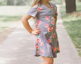 c09a4b8d2ade Grey Floral Dress, Blush Toddler Dress, Charcoal Toddler Dress, Cold  Shoulder Dress, Cold Shoulder Toddler Dress, Toddler Clothing