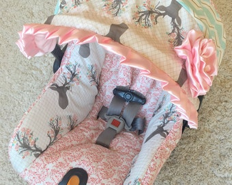 Custom Car Seat Cover 4 PC Set Baby Covers Deer Infant Girl Pink