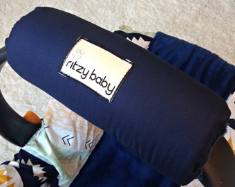 Navy Arm Pad For Infant Car Seat Handle Optional Monogram Cushion Padded To Alleviate Pain Baby