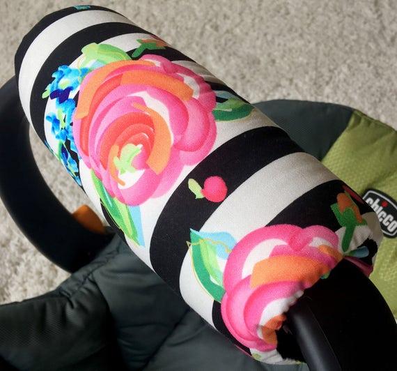 Watercolor Floral Stripe Arm Pad For Infant Car Seat Handle