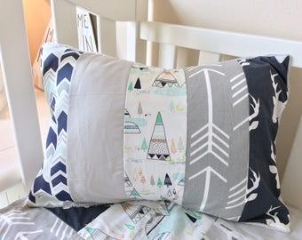 Patchwork Pillows, Toddler Pillows, Nursery Pillows, Accent Pillows, Woodlands Pillows, Grey Arrow Pillows, Boy Nursery Pillows.