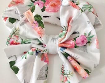 Unicorn Bow Headband, Floral Bow, Unicorn Headband, Floral Headband, Unicorn Bow, Floral Bow Headband, Baby Bow, Baby Headband, Knit Bow