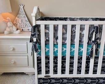 Baby Bedding Crib Sets Adventure Awaits Mountains Trees Navy