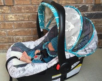 Custom Infant Car Seat Cover 4 PC Set Cars Infant Car Seat