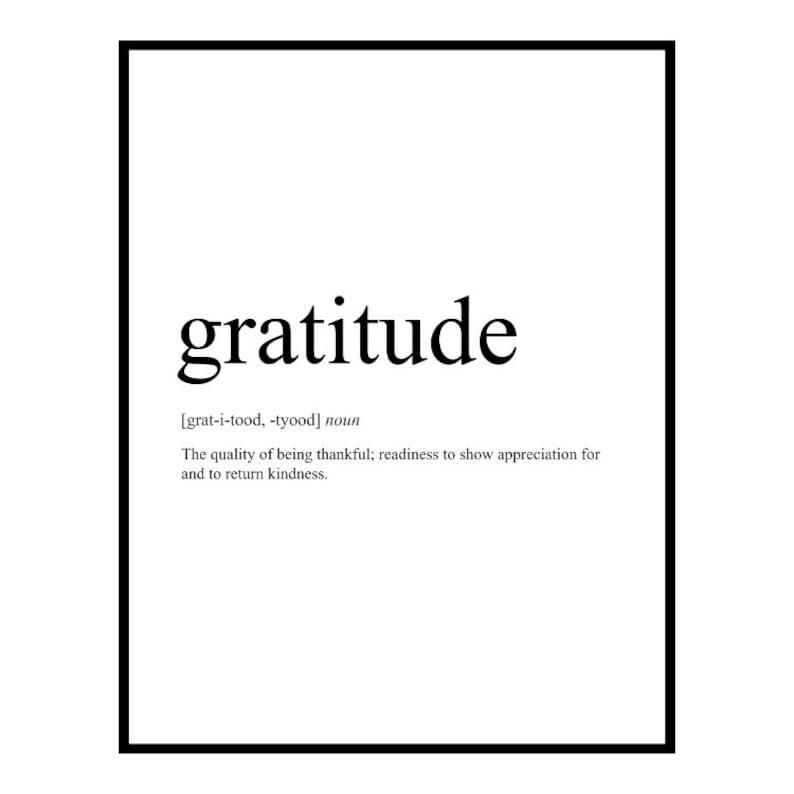 Gratitude Definition Art: Gratitude Print Gratitude image 0