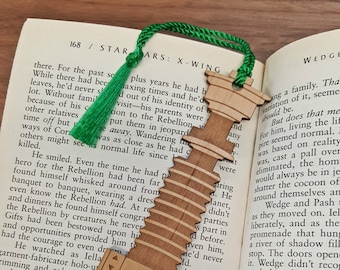 Star Wars Luke Skywalker Lightsaber Bookmark with Tassel - Laser Engraved Alder Wood - Light Saber Book Mark