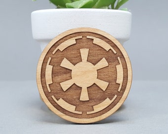 Star Wars Galactic Empire - Magnetic Wood Brooch - Laser Engraved - Lapel Pin