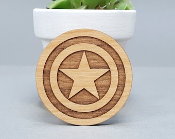 Captain America - Magnetic Wood Brooch - Laser Engraved - Avengers Lapel Pin