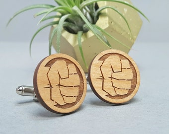Marvel The Incredible Hulk Cuff Links - Laser Engraved on Alder Wood - Cufflinks Pair
