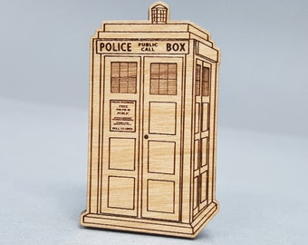 Doctor Who TARDIS - Magnetic Wood Brooch - Laser Engraved - Lapel Pin