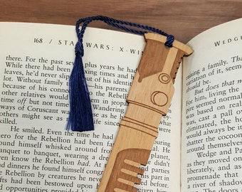 Star Wars Obi-Wan Kenobi Lightsaber Bookmark with Tassel - Laser Engraved Alder Wood - Light Saber Book Mark