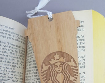 Wood Starbucks Cup Bookmark with Tassel - Laser Engraved Alder Wood Book Mark