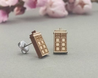 72d96a4805 Doctor Who TARDIS Earrings - Laser Engraved Wood Earrings - Hypoallergenic  Titanium Post Earring Pair