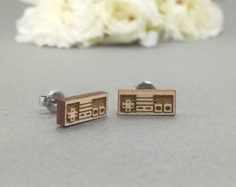 Nintendo NES Controller Earrings - Laser Engraved Wood Earrings - Hypoallergenic Titanium Post Earring Pair