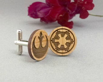 Star Wars Rebel Alliance and Galactic Republic Cuff Links - Laser Engraved on Alder Wood - Cufflinks Pair