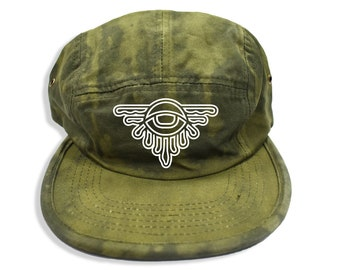 5e57a2544e7 5-Panel Hats Olive Green Hat Bleach Hat Third Eye Hat Abstract Hat