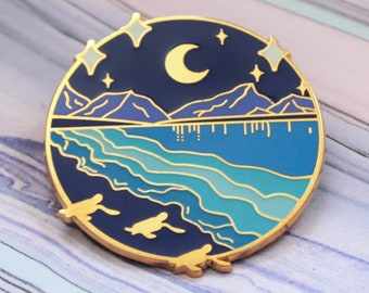 Bioluminescent Bay Hard Enamel Pin - Glow in the Dark Enamel Pin - Baby Turtle Lapel Pin - Sea Ocean Pin - Mountain Night Sky Moon