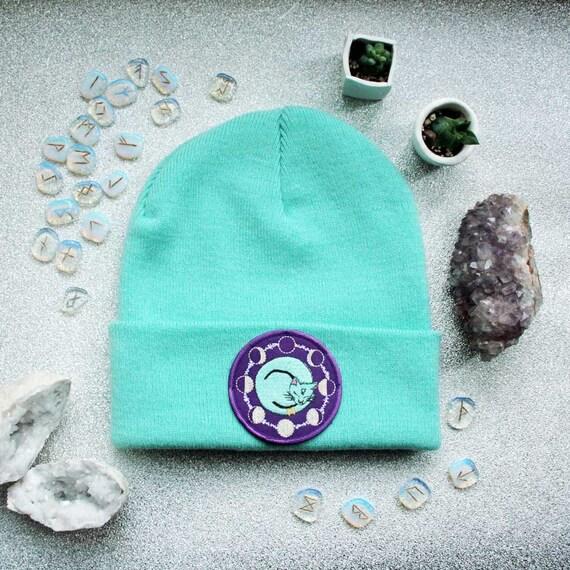 5d74da9245f Space Cat Beanie Hat Lavender Mint   Black Occult Flair