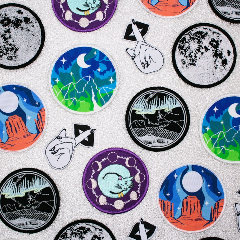 Full Moon Mystery Bags - Enamel Pin Seconds - Grab Bags - Embroidered Woven  Iron On Patches - Space Enamel Pins - Nature Adventure Patches