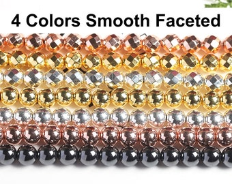 2-12mm Electroplated Hematite Beads Golden Silver Non-Magnetic 2mm 3mm 4mm 6mm 8mm 10mm 12mm Smooth Faceted Loose Beads DIY Jewelry Making