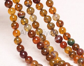 B101 Nature Dragons Vein Agate Beads Supplies, Full Strand 4 6 8 10 12 14 16mm Round Brown Agate Gemstone Beads for DIY Jewelry Making