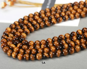 4-20mm Natural Yellow Tiger Eye Beads Grade A AAA AAAAA Genuine Beads 4mm 6mm 8mm 10mm 12mm 14mm 16mm 18mm 20mm Full Strand Jewelry Making