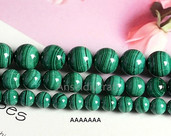 4-12mm Natural Green Malachite Beads Supplies 4mm 6mm 8mm 10mm 12mm Smooth Gemstone Loose Beads Full Strand DIY Jewelry Making