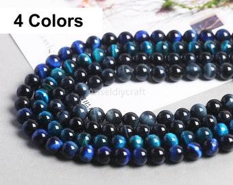 4-16mm Natural Blue Tiger Eye Beads Grade AAAAA Genuine Gemstone Beads 4mm 6mm 8mm 10mm 12mm 14mm 16mm Full Strand DIY Jewelry Making