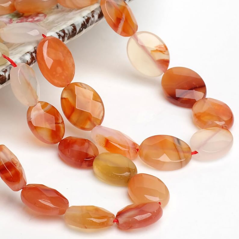 15 Natural Red Agate Faceted Flat Oval Beads 10*14MM 12*16MM Genuine Gemstone Loose Beads 38CM Full Strand Jewelry Making
