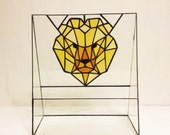 Geometric Glass Terrarium Container, Stained Glass Art, Stain Glass Planter, Modern Home Decoration