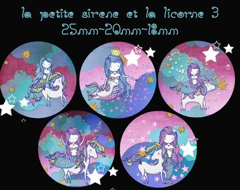 "Digital images - cabochon - jewelry - scrapbooking - collage ""the Little Mermaid and Unicorn 3"" 25mm - 20mm - 18 mm"