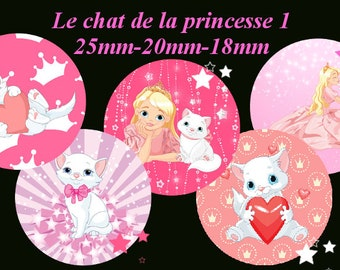 "Digital images - cabochon - jewelry - scrapbooking - collage ""the cat Princess 1"" 25mm - 20mm - 18 mm"