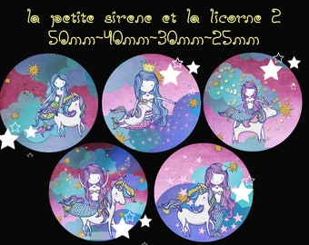 "Digital images - cabochon - jewelry - scrapbooking - collage ""the Little Mermaid and Unicorn 2"" 50mm - 40 mm - 30 mm - 25 mm"