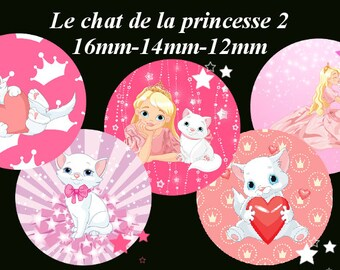 "Digital images - cabochon - jewelry - scrapbooking - collage ""the cat Princess 2"" 16mm - 14mm - 12 mm"
