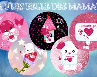 "Digital images - cabochon - jewelry - scrapbooking - collage ""the most beautiful moms"" 25mm - 20mm - 18 mm"