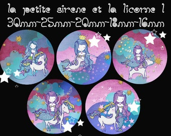 "Digital images - cabochon - jewelry - scrapbooking - collage ""the Little Mermaid and Unicorn 1"" 30mm - 25 mm - 20 mm - 18 mm - 16 mm"