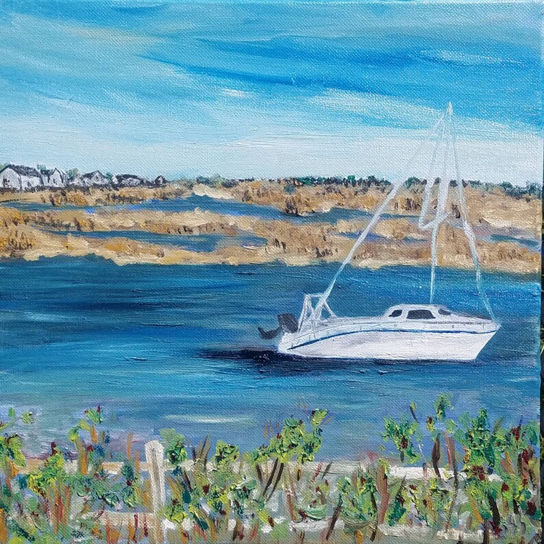 Yarmouth Massachusetts Bass River 12x12 oil paint on canvas image 0
