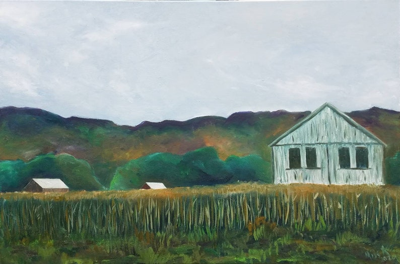 Barn in Deerfield Massachuse large oil painting 3 feet by 2 image 0