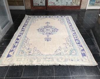 Turkish handmade Rug/Vintage Rug/Area Rug/Bohemian Rug/Aztec Rug/Oushak Rug/Bohemian Rug/Home Living Floor Rug/7'3X9'7Feet/221X297Cm