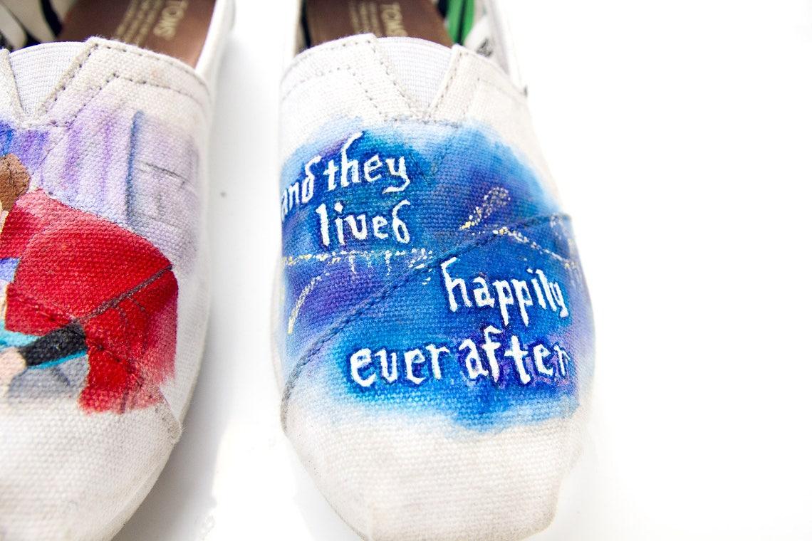 Personalizado pintado a mano zapatos de boda de la bella durmiente