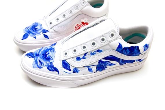 Custom Painted Blue Flower Vans | Etsy