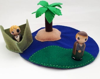 Palm Tree Paradise Playscape/Felt Playscape/Play Mat/Peg Dolls/Pretend Play/Imagination/Ocean Sand/Peg People Accessory/Waldorf/Story Teller