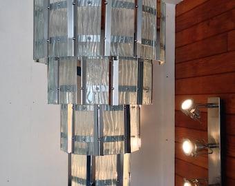 Murano Sciolari Chandelier, 1970s Italian Ceiling Light,