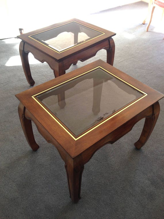 Fine Vintage Pair Coffee Tables From Harrods Mahogany Brass Glass Tops Colonial Pabps2019 Chair Design Images Pabps2019Com