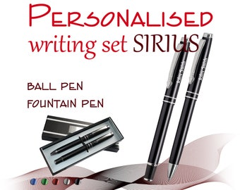Personalised 2-element set fountain pen *VENO* black//blue ink ball pen